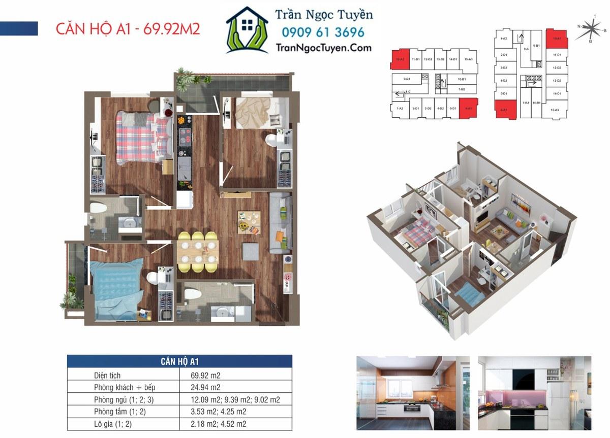 Căn hộ 69.92m2 chung cư Lộc Ninh SingaShine