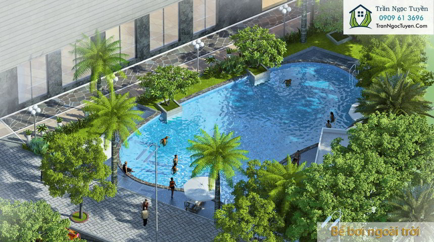 bể bơi trong khuân viên dự án Lộc Ninh Singashine