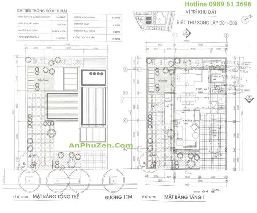 Thiết kế mặt bằng tầng 1 nhà biệt thự song lập An Phú Zen Garden 160.5m2 - 165m2