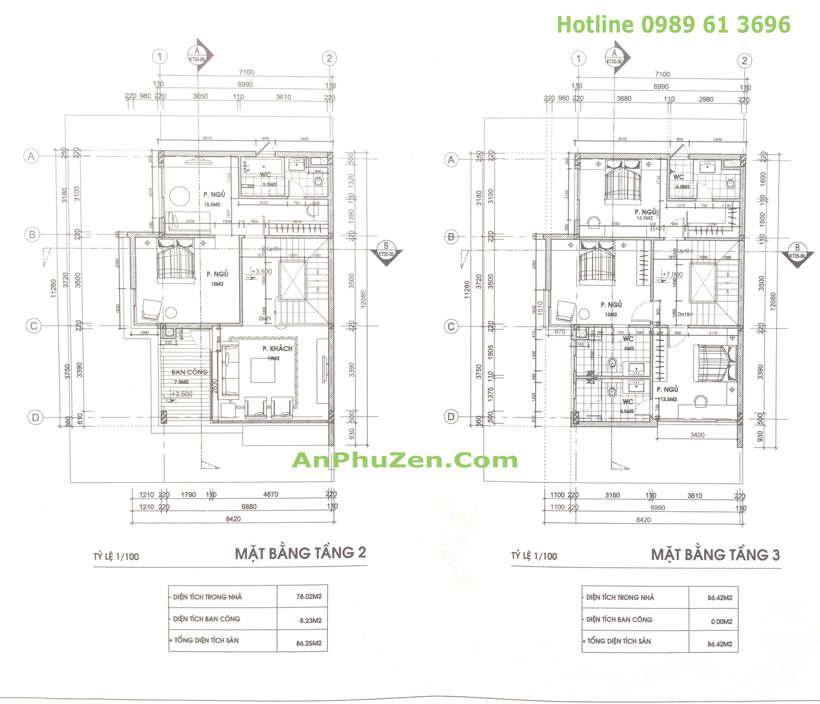 Thiết kế mặt bằng tầng 2 +3 nhà biệt thự song lập An Phú Zen Garden 160.5m2 - 165m2
