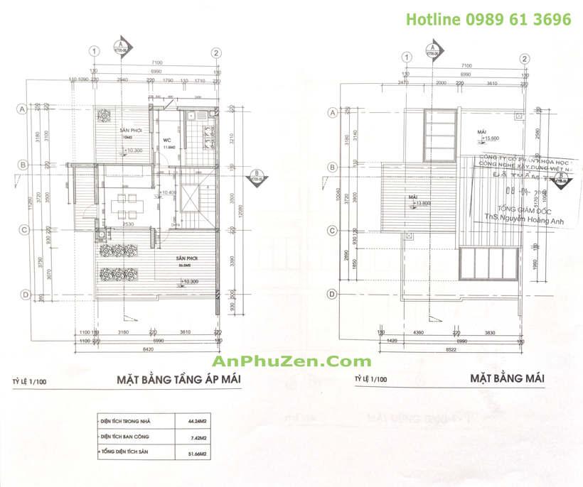Thiết kế mặt bằng tầng áp mái và mặt bằng mái nhà biệt thự song lập An Phú Zen Garden 160.5m2 - 165m2