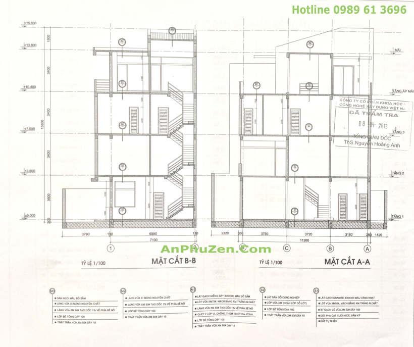 Mặt cắt A-A, B-B nhà biệt thự song lập An Phú Zen Garden 160.5m2 - 165m2