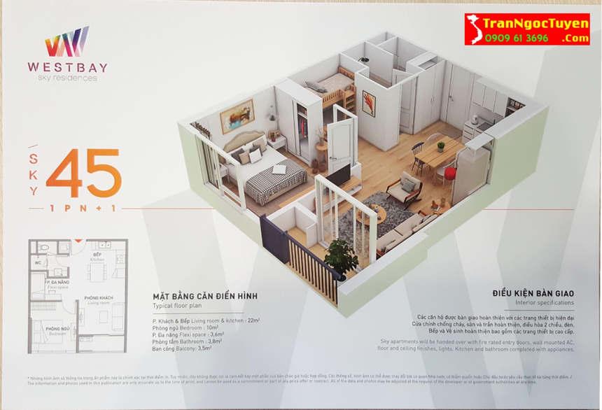 west bay sky residences căn hộ 45m2 1.5 phòng ngủ