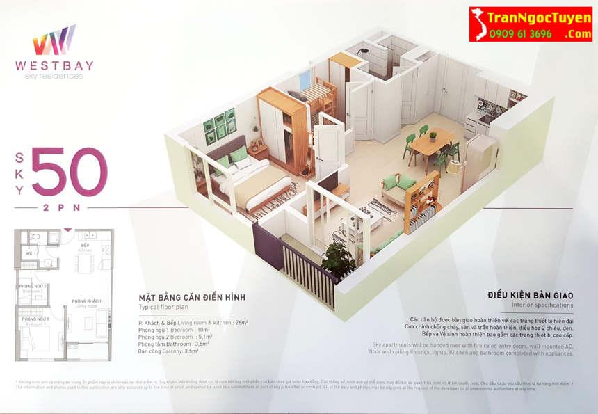 west bay sky residences căn hộ 50m2 - 2p.ngủ