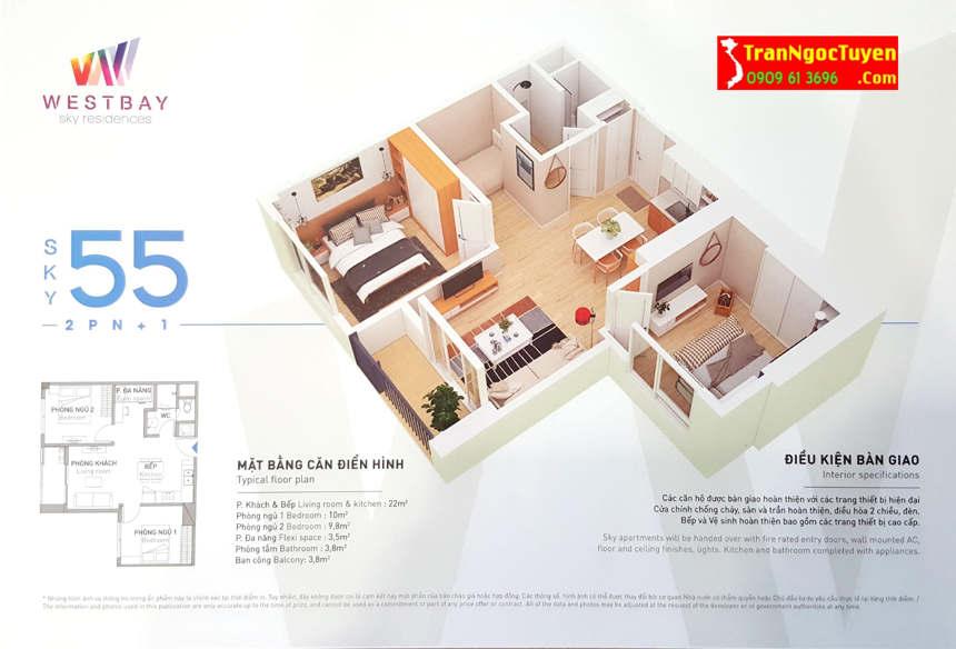 west bay sky residences căn hộ 55m2 - 02 p.ngủ