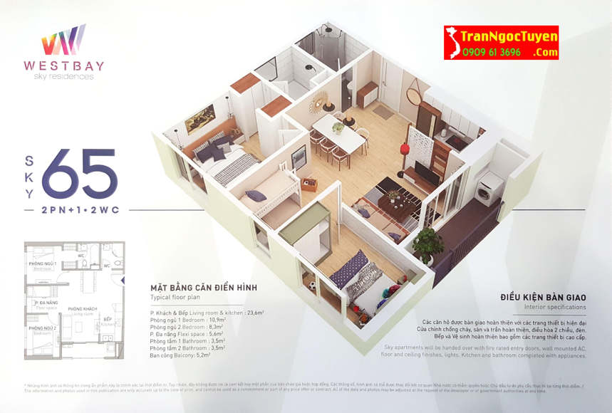 west bay sky residences căn hộ 65m2