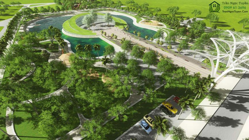 công viên nhạc nước tại biệt thự Dương Nội khu D