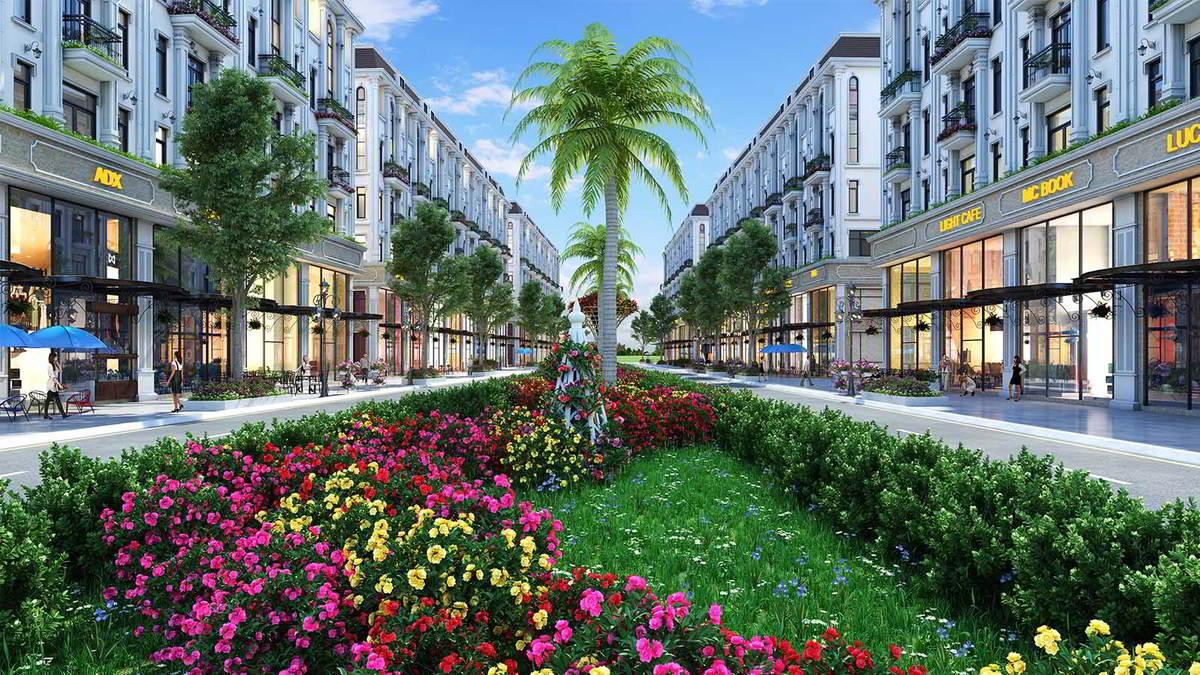 vườn hoa cây xanh tại Him Lam Vạn Phúc