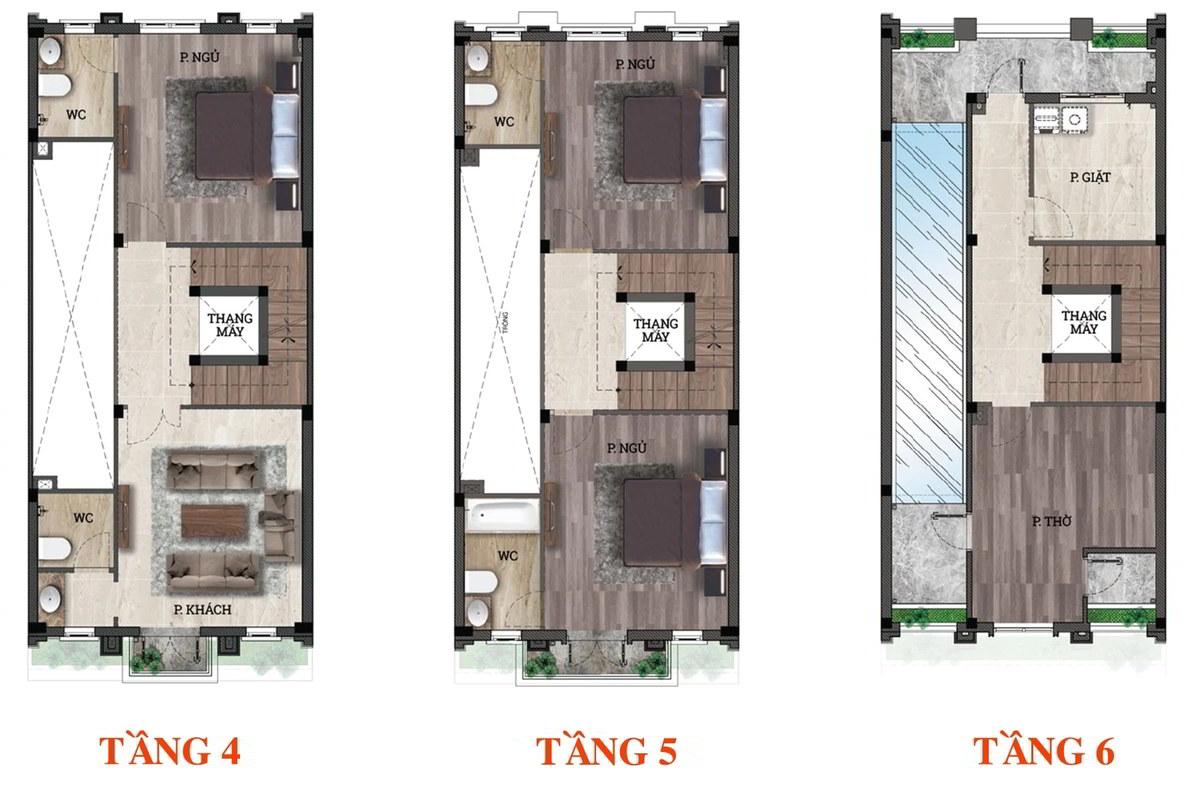 Thiết kế tầng 4-5-6 shop house Him Lam Vạn Phúc