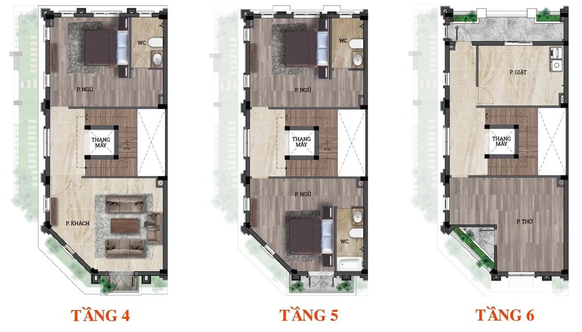 Mặt bằng shop house lô góc Him Lam Luxury Residence