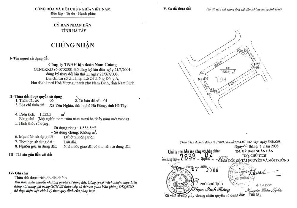 Sổ đỏ biệt thự Sol Lake Villa Nam Cường block T04
