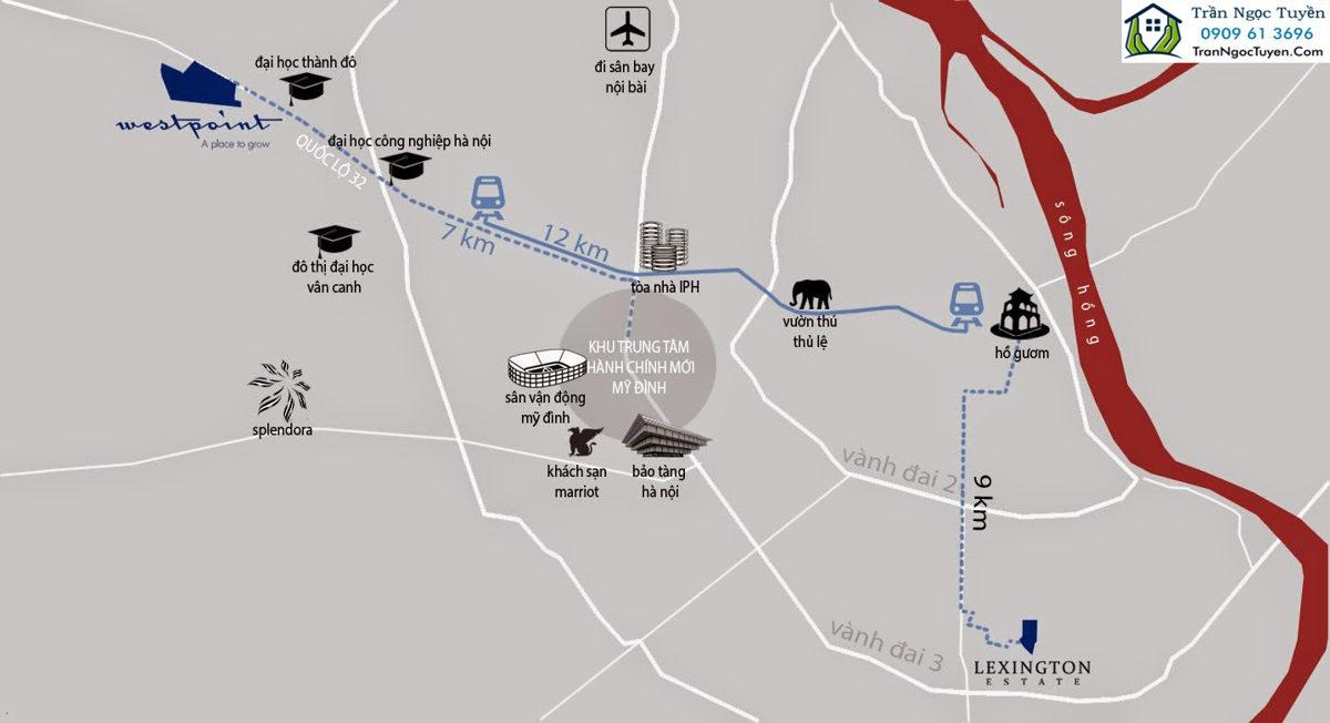vị trí dự án Liền kề Nam 32 WestPoint
