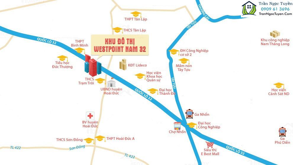 Vị trí dự án Nam 32 Khu đô thị WestPoint