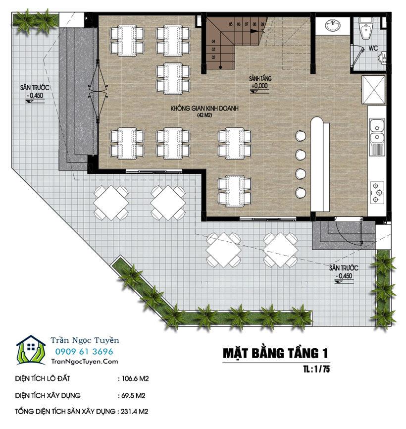 Thiết kế nhà phố dự án Nam 32 lô góc 106m2