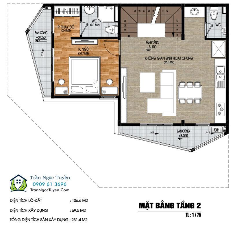 Mặt bằng Shop house dự án Nam 32 tầng 2