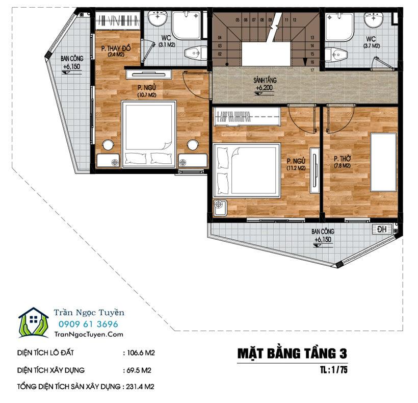 Mặt bằng Shop house dự án Nam 32 tầng 3