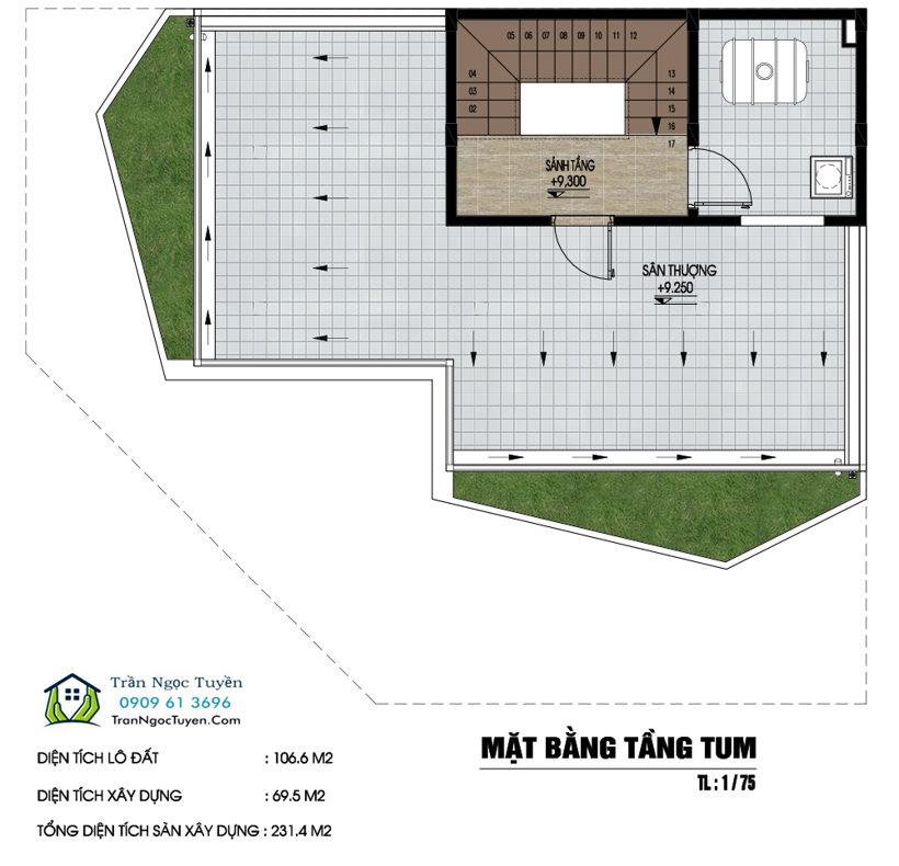 Mặt bằng Shop house dự án Nam 32 tầng 4