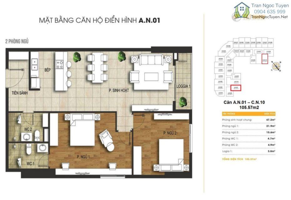 Chung cư 440 Vĩnh Hưng T&T Riverview mặt bằng căn hộ A1 -C10 105.96m2