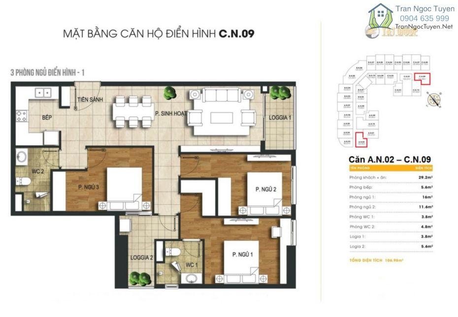 Chung cư 440 Vĩnh Hưng T&T Riverview mặt bằng căn hộ 3 phòng ngủ A02 - C09