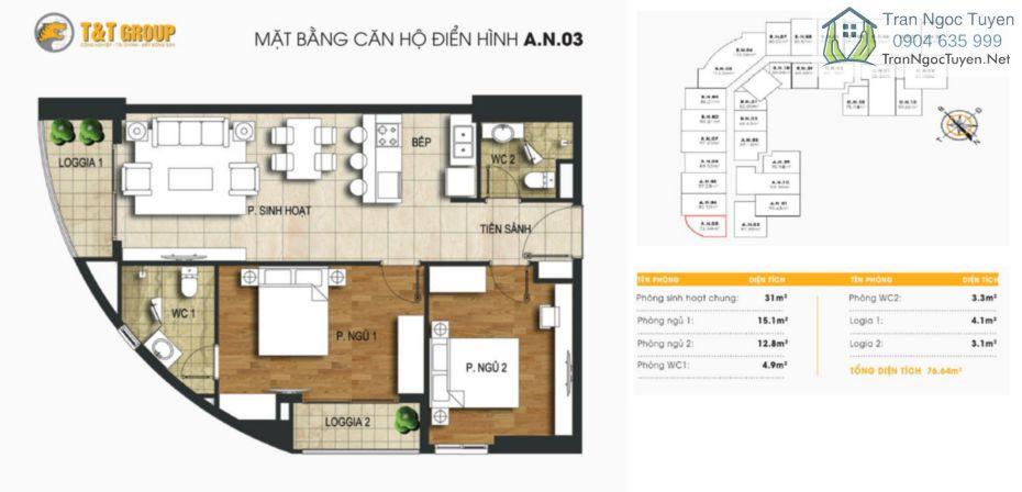 Chung cư 440 Vĩnh Hưng T&T Riverview mặt bằng căn hộ A03 - 76m2