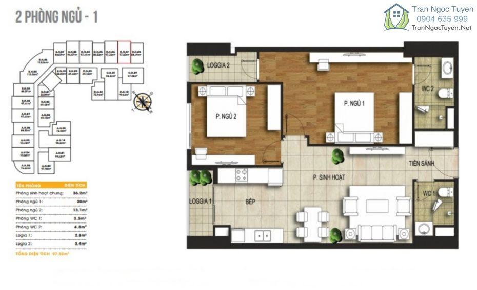 Chung cư 440 Vĩnh Hưng T&T Riverview mặt bằng căn hộ A06-B04-B07-C05-.95-97m2