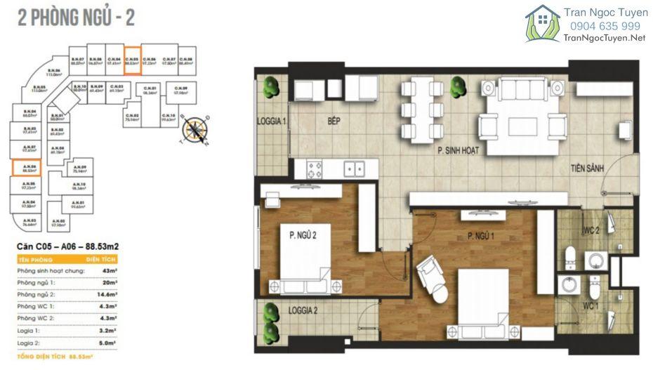 Chung cư 440 Vĩnh Hưng T&T Riverview mặt bằng căn hộ A6-C5-96.14m2