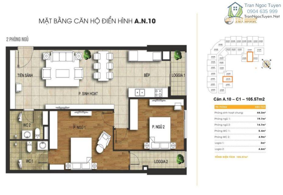 Chung cư 440 Vĩnh Hưng T&T Riverview mặt bằng căn hộ A10 C1 105.57m2