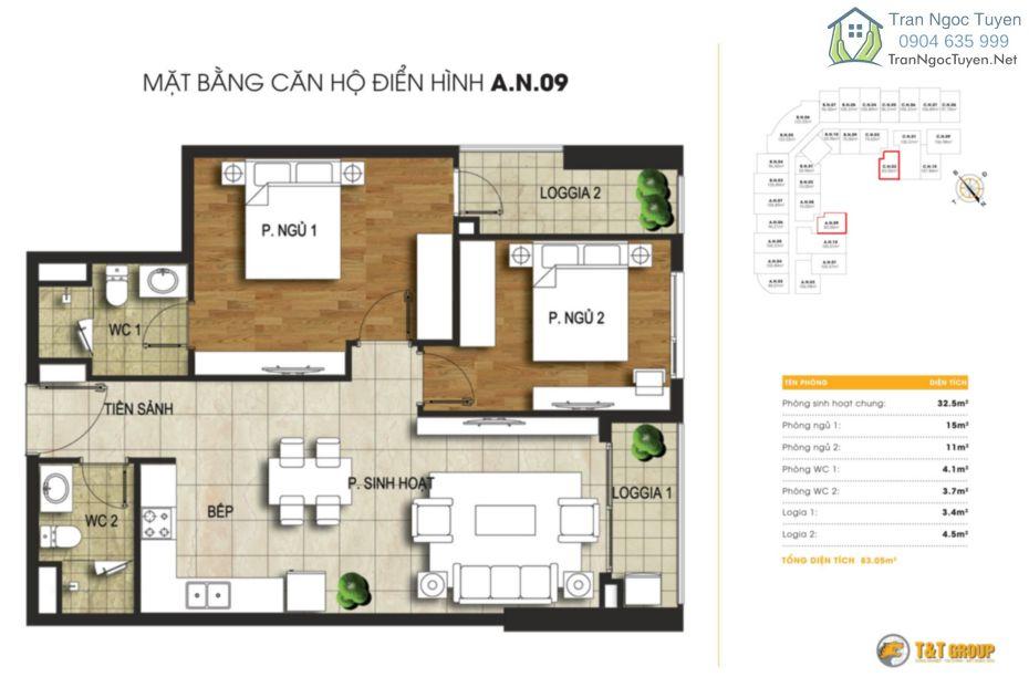 Chung cư 440 Vĩnh Hưng T&T Riverview mặt bằng căn hộ A9 - C2 - 82.66m2