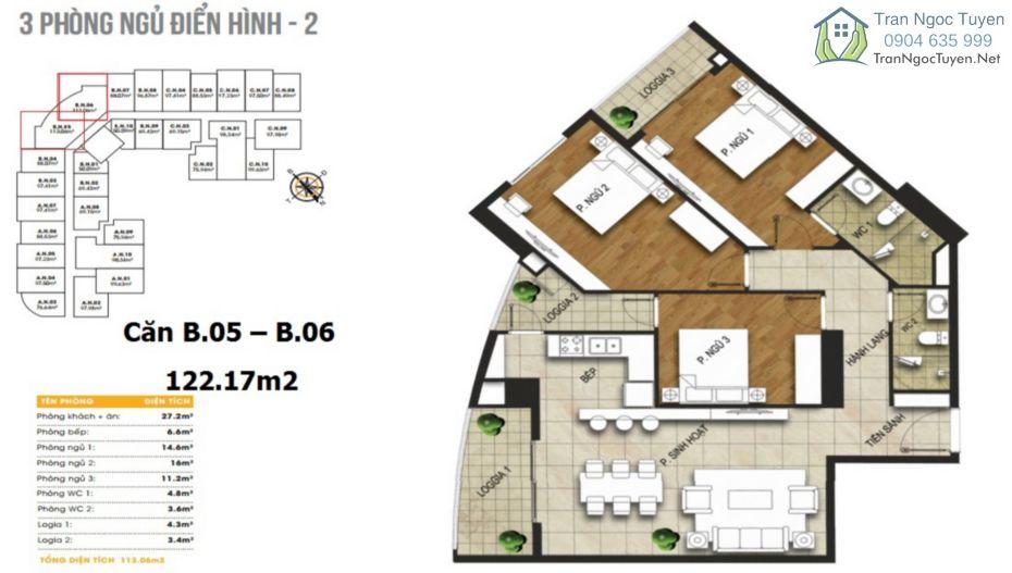 Chung cư 440 Vĩnh Hưng T&T Riverview mặt bằng căn hộ 3 phòng ngủ B05 - B06