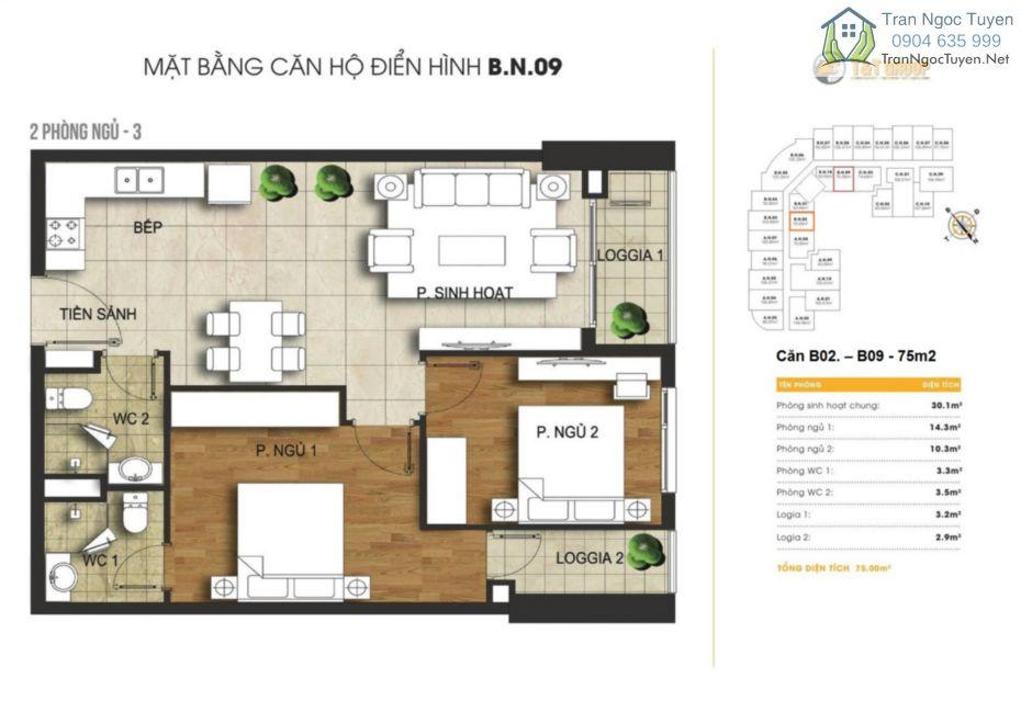 Chung cư 440 Vĩnh Hưng T&T Riverview mặt bằng căn hộ  B02 - B09