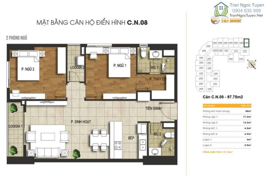 Chung cư 440 Vĩnh Hưng T&T Riverview mặt bằng căn hộ C08 - 97.75m2