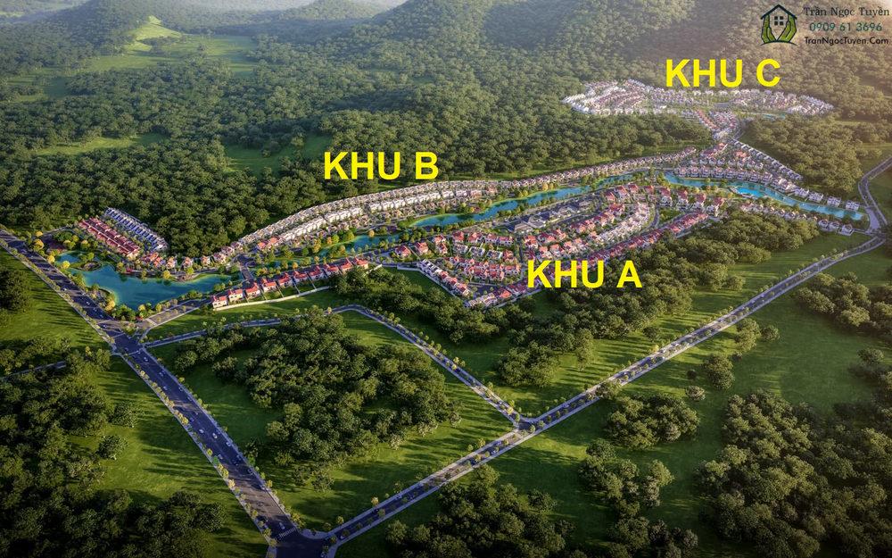 Tổng thể khu đô thị Xanh Villas chia làm 3 phân khu A, B, C