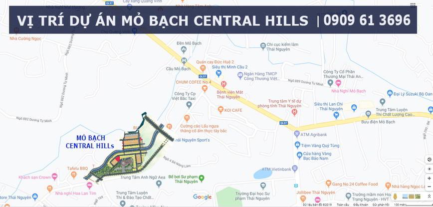 vị trí dự án Mỏ Bạch Central Hills Thái Nguyên