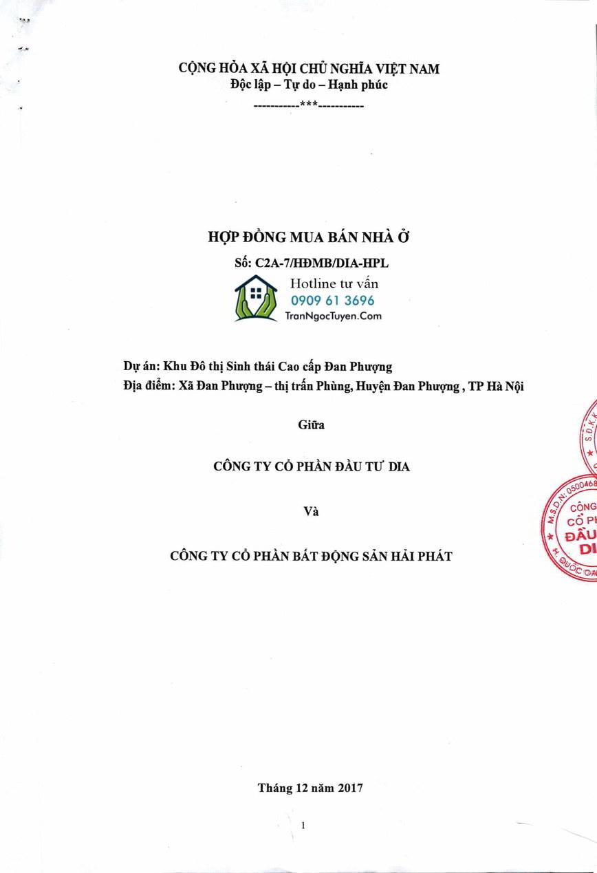 Hợp đồng mua bán biệt thự The Phoenix Garden ký giữa Chủ đầu tư DIA và Hải Phát Land