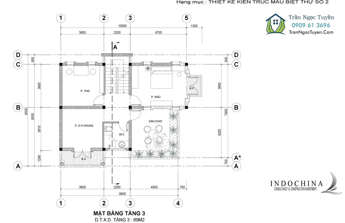 mặt bằng tầng 2 biệt thự The Phoenix Garden mẫu 2