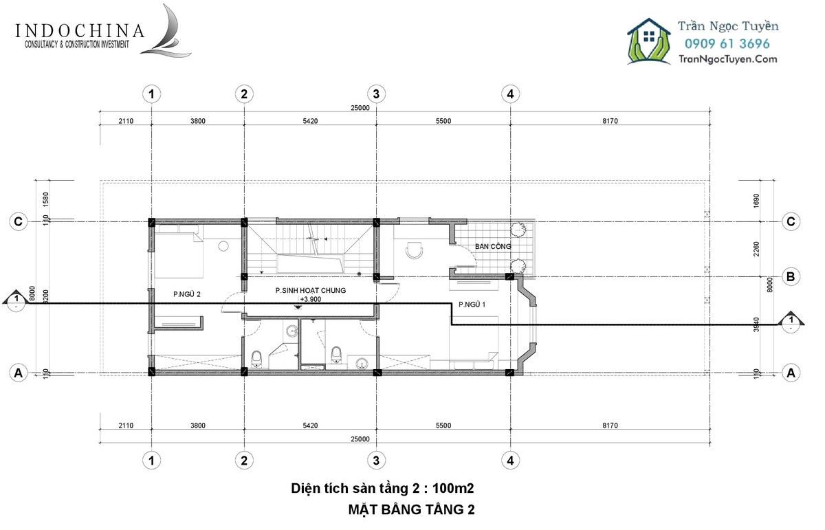 Mặt bằng thiết kế biệt thự The Phoenix Garden 200m2 mẫu 3 tầng 2