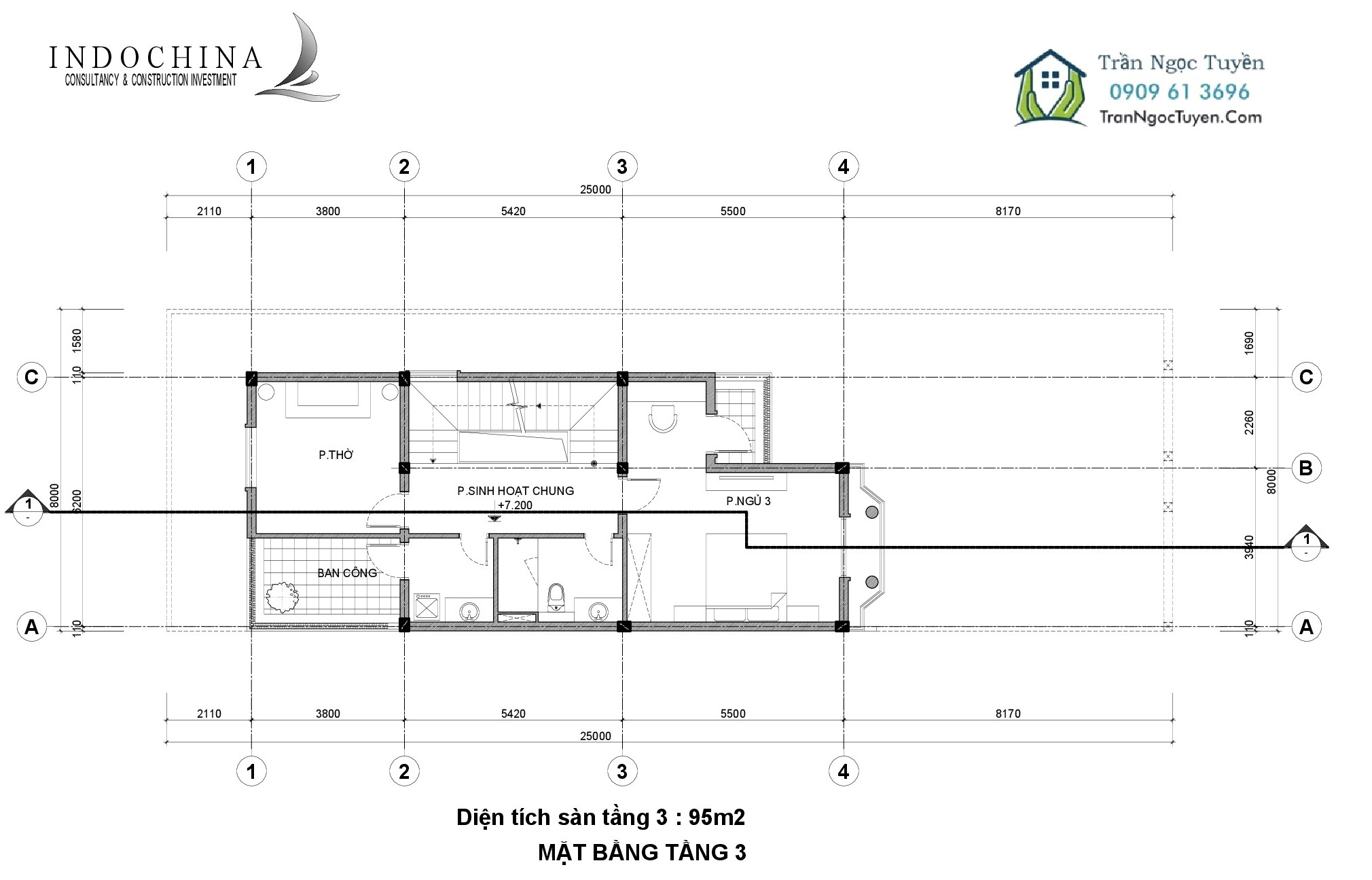 Mặt bằng thiết kế biệt thự The Phoenix Garden 200m2 mẫu 3 tầng 3