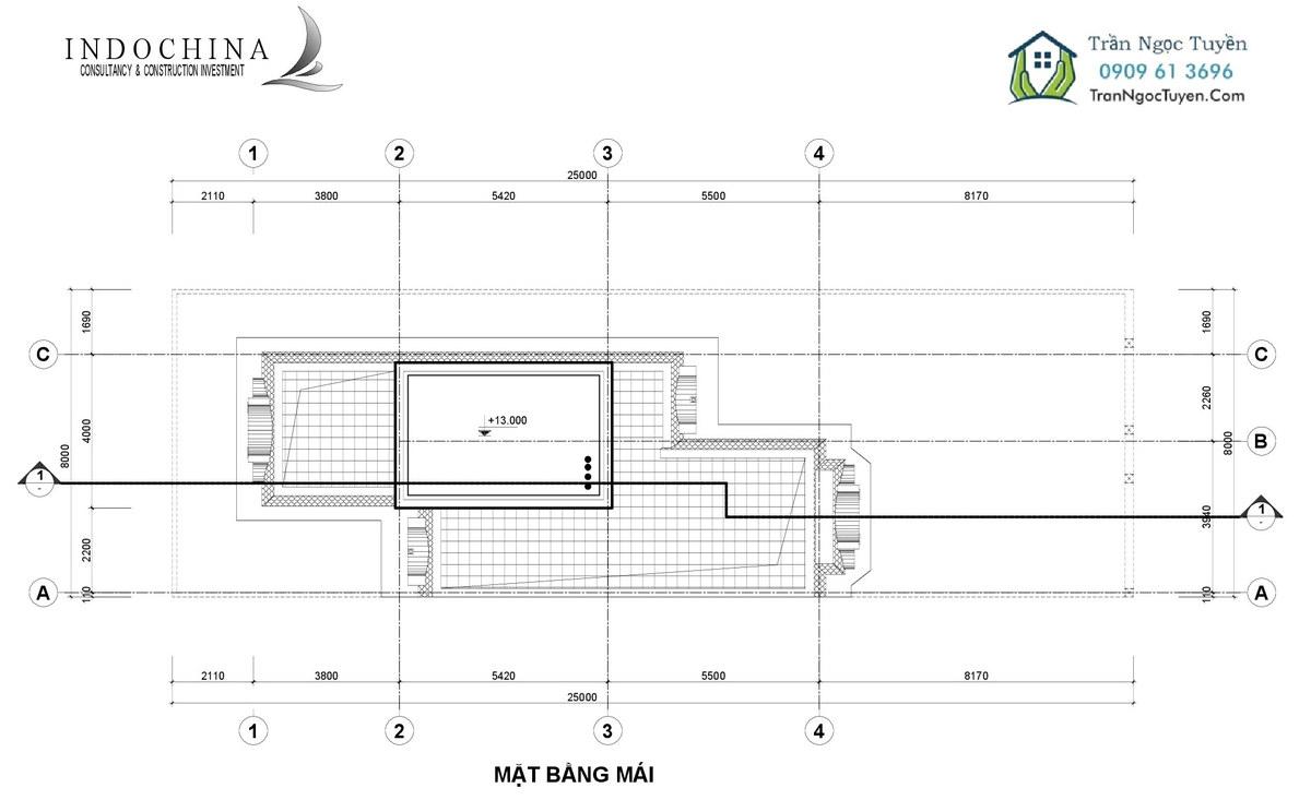 Mặt bằng thiết kế biệt thự The Phoenix Garden 200m2 mẫu 3 mái