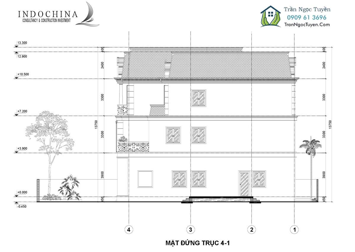 Mặt bằng thiết kế biệt thự The Phoenix Garden 200m2 mẫu 3 mặt đứng trục 4-1