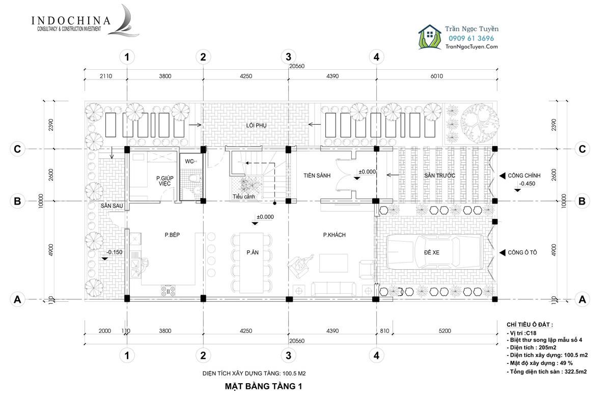 Mặt bằng tầng 1 biệt thự The Phoenix Garden mẫu 4 205m2