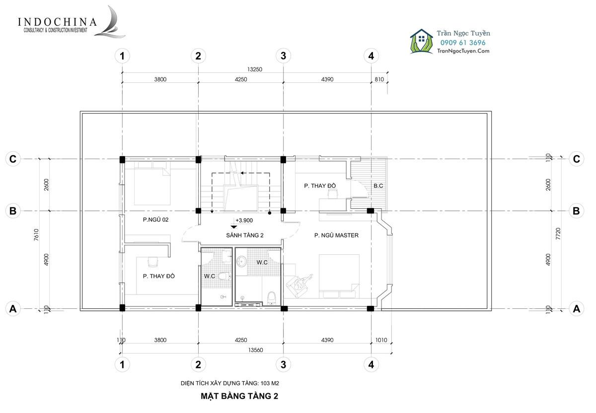 Mặt bằng tầng 2 biệt thự The Phoenix Garden mẫu 4 205m2