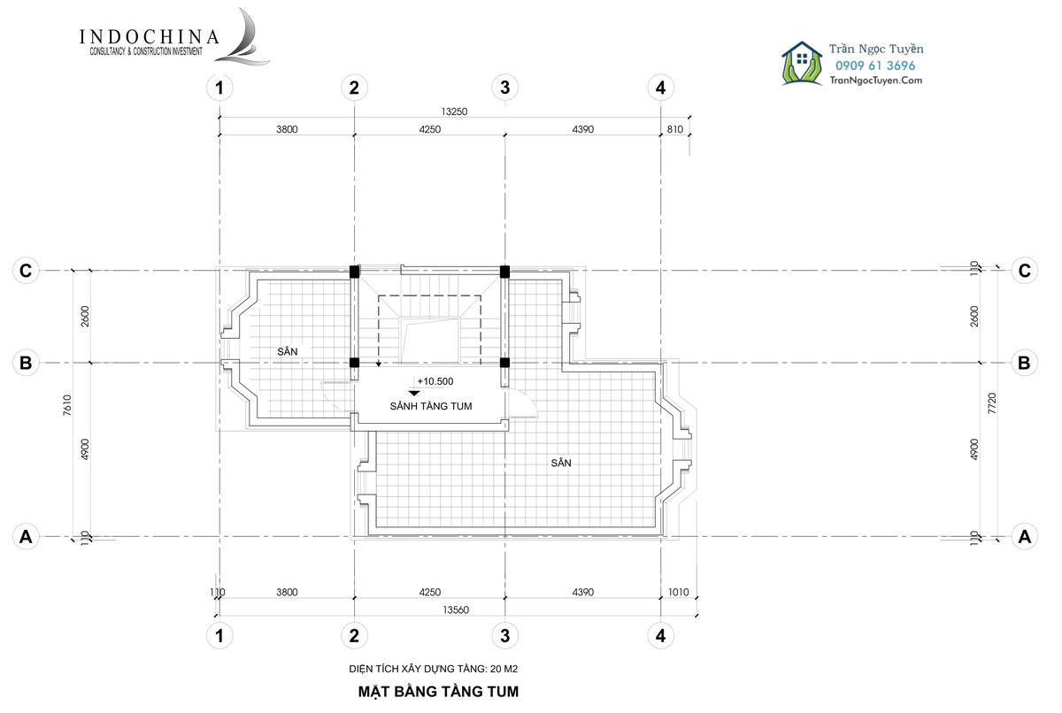 Mặt bằng tầng tum mẫu 4 205m2 biệt thự The Phoenix Garden