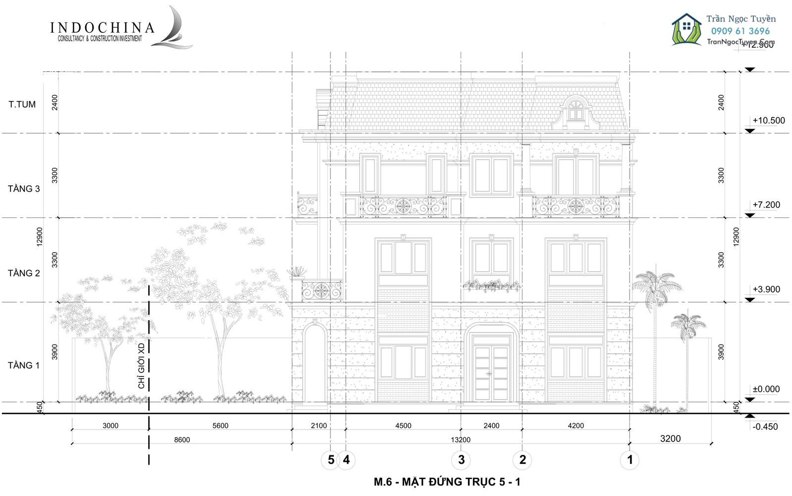 Mặt bằng biệt thự sinh thái Đan Phượng 400m2 trục 5-1 mẫu mới