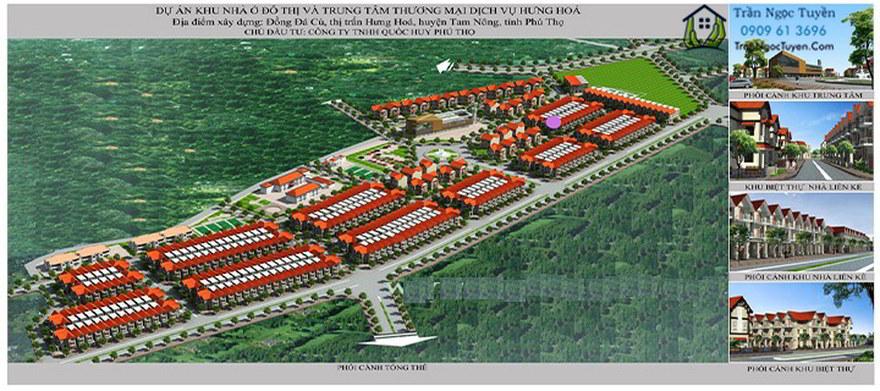 Phối cảnh tổng thể khu nhà ở đô thị và trung tâm dịch vụ thương mại thị trấn Hưng Hóa huyện Tam Nông tỉnh Phú Thọ