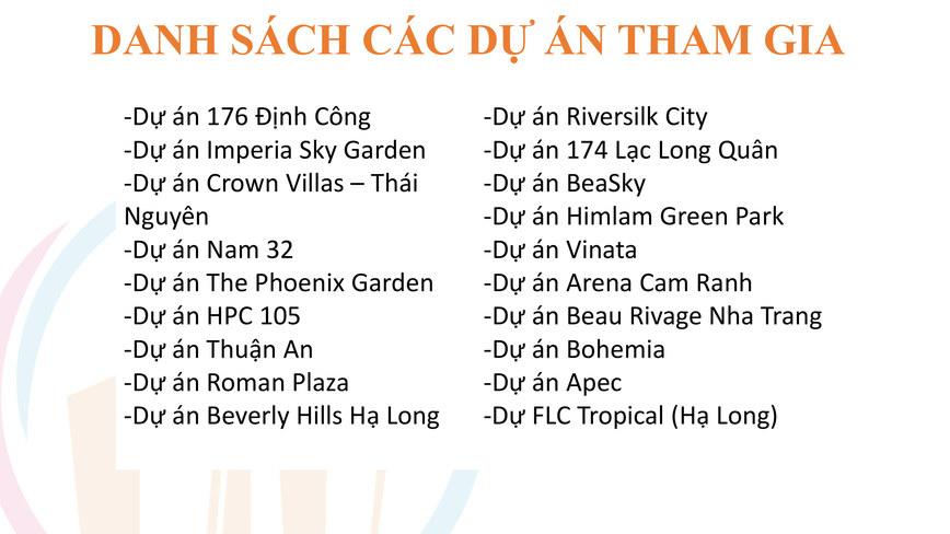 Danh sách các dự án tham gia lễ hội bất động sản Hai Phat Land