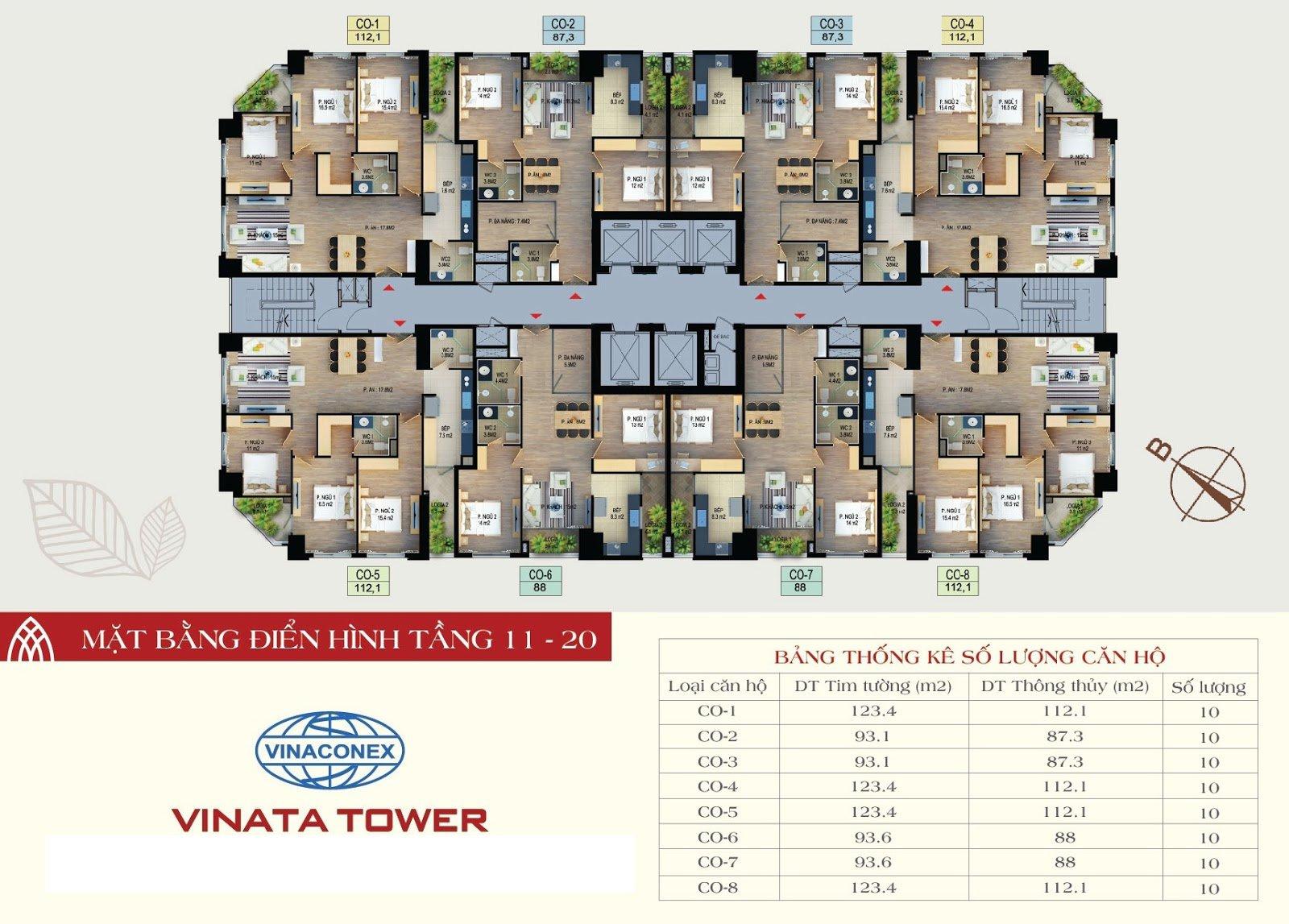 Mặt bằng sàn tầng 11-20 chung cư Vinata Tower