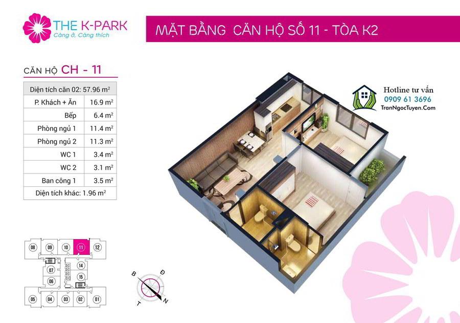 thiết kế căn hộ số 11 tòa K2 the K Park Hà Đông